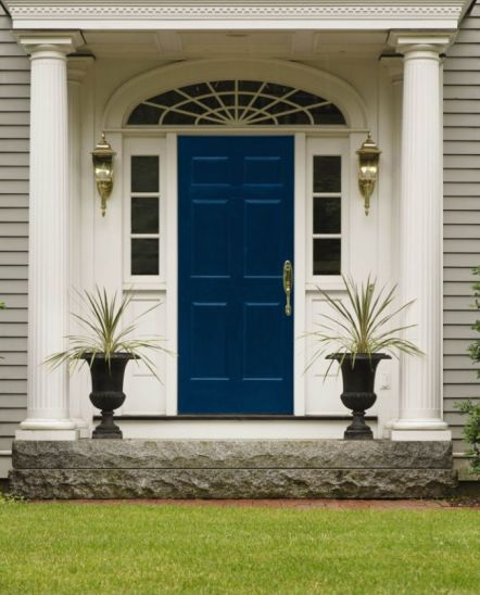 Blue front door via Maria Killam