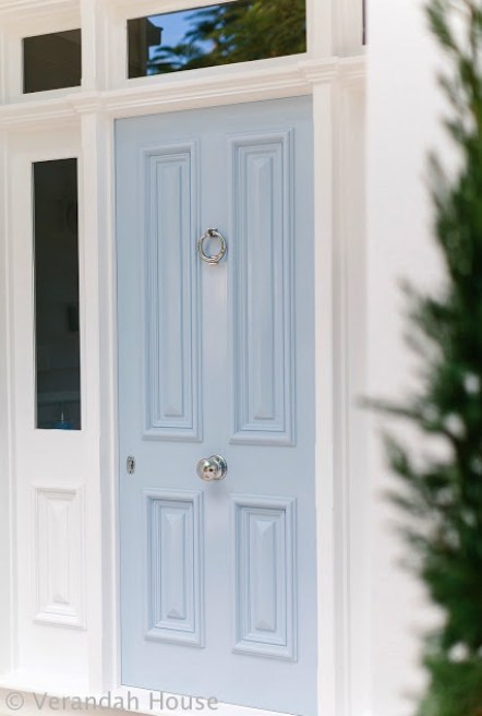 Pale blue door via Verandah House
