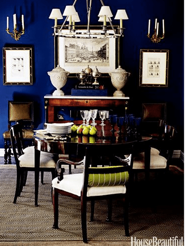 a dark and rich navy dining room via house beautiful - Navy Dining Room Chairs