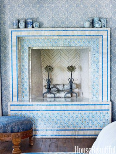 Moroccan Tile Fireplace via House Beautiful