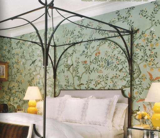 Miles Red iron bed in chinoiserie room