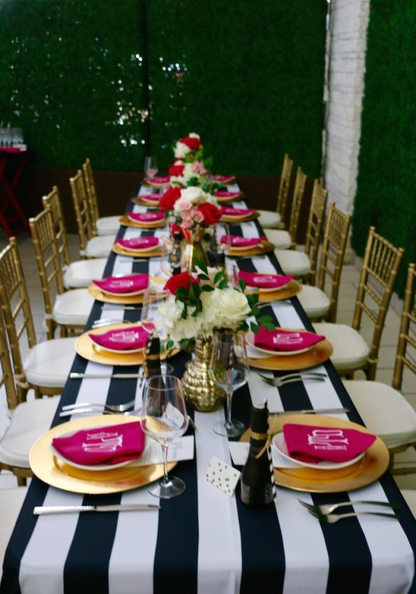 Black and White Pink and Gold Tablescape