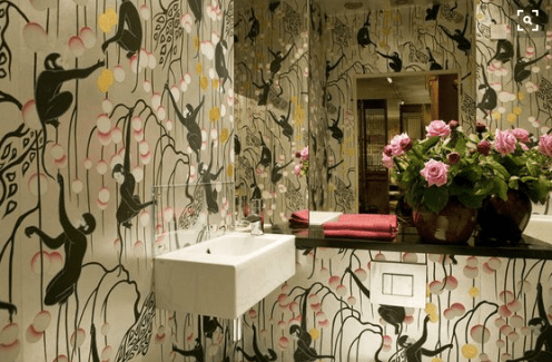 De Gournay Deco Monkeys in a Bathroom by Miles Redd