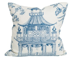 Chinoiserie blue and white pillow via society social