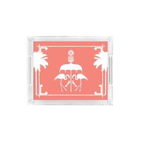Flamingo Bamboo Acrylic Tray