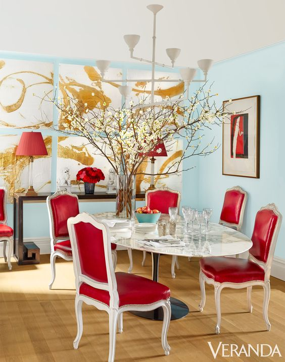 Red And Blue Dining Room By Miles Redd