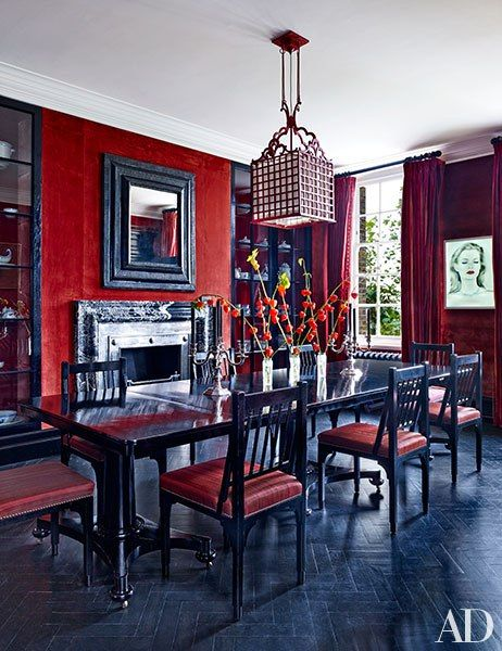 Roubi Lroubis Red Dining Room Via Ad
