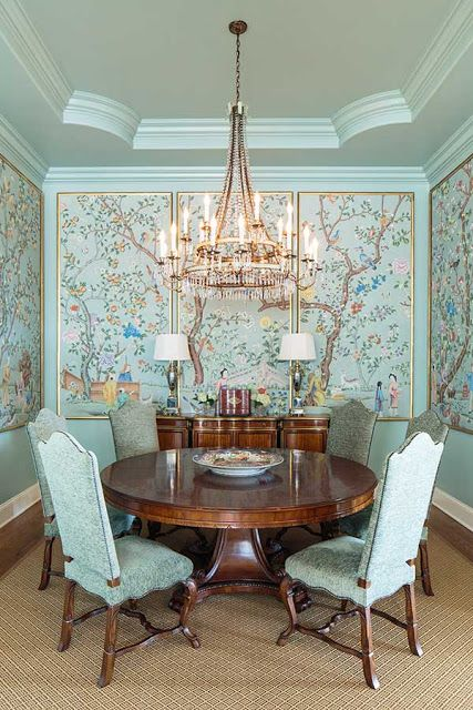 A dining room of framed chinoiserie panels via Rodd Richesin design