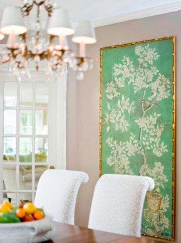 framed chinoiserie wallpaper by Sara Tuttle