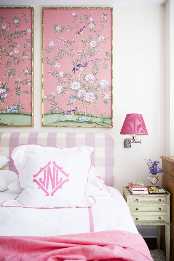 pinked framed chinoiserie panels by Nick Olsen via Domino