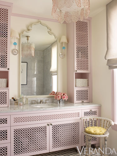 Beautiful pale pink cabinets by Ruthie Sommers via Veranda
