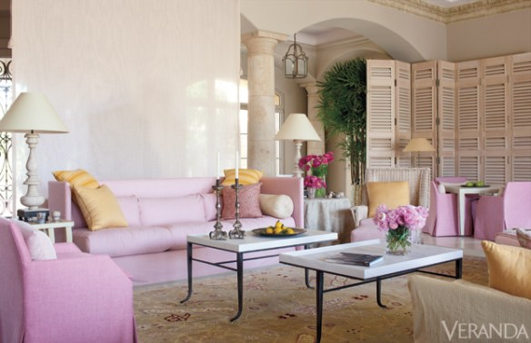 living room in pink by John Saldino via Veranda