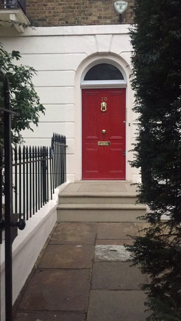 Red door in London photo by Christina Dandar for The Potted Boxwood
