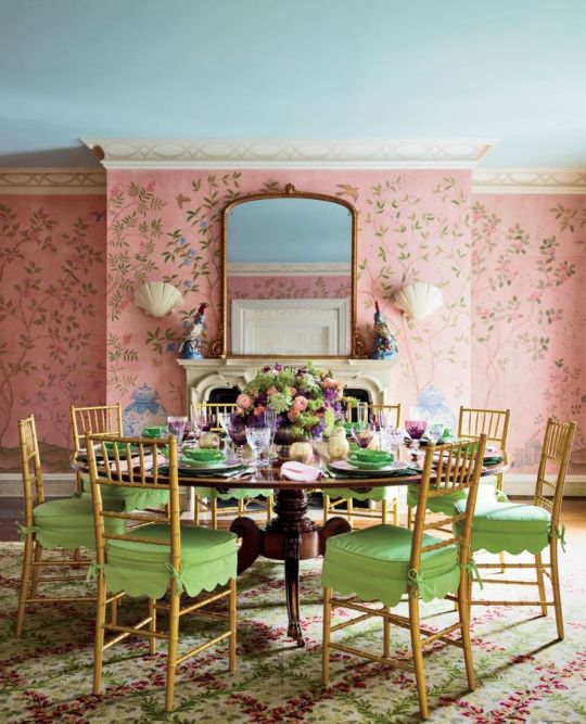 Pink dining room via Mario Buratta