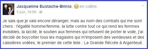 Jacqueline Eustache-Brinio, statut FB - 05/06/2016 - ThePrairie.fr !