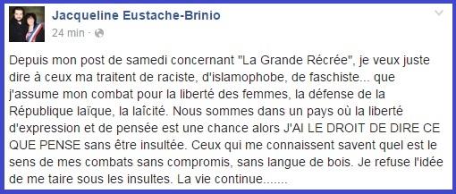 Jacqueline Eustache-Brinio, statut FB - 08/06/2016 - ThePrairie.fr !