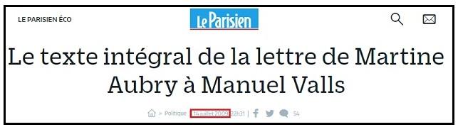 Martine Aubry, lettre à Valls en 2009 - ThePrairie.fr !