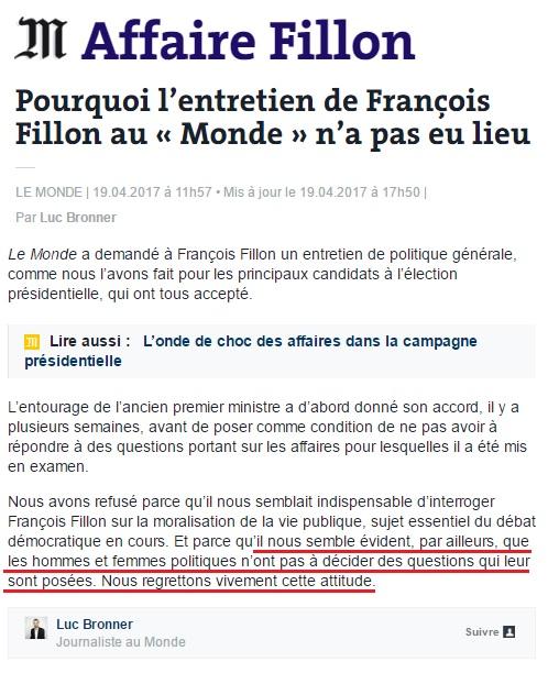Le Monde - Refus interview de Fillon - ThePrairie.fr !
