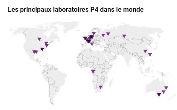 Laboratoires P4 dans le monde