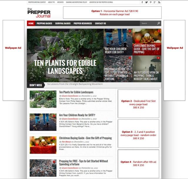 Advertising options for the Prepper Journal.