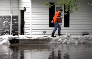 Sandbags are the weapon of choice for rising waters