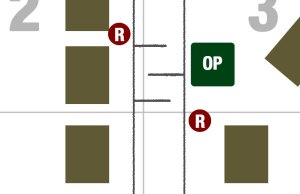 Horizontal Lines show trees to be used as a blockade. Any cars would have to slowly navigate this obstacle.