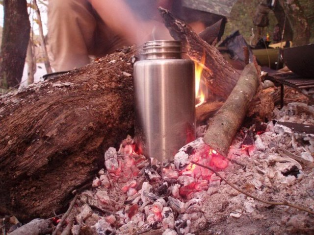 A Stainless Steel water bottle like this Nalgene will allow you to boil water if needed.