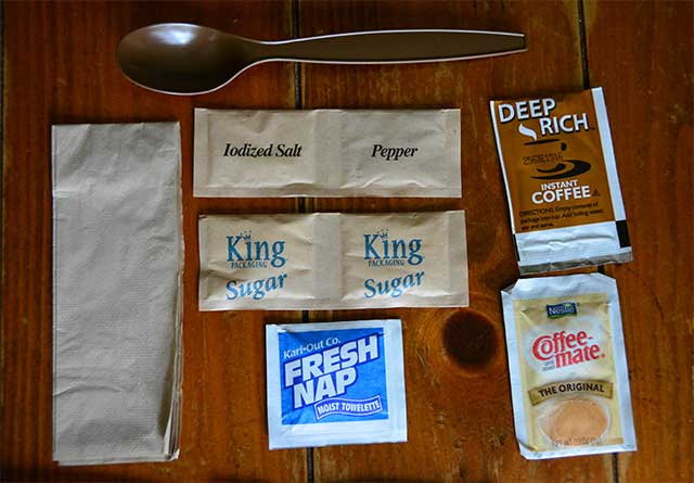 Everything you need plus a big long spoon to reach the bottom of the bag.