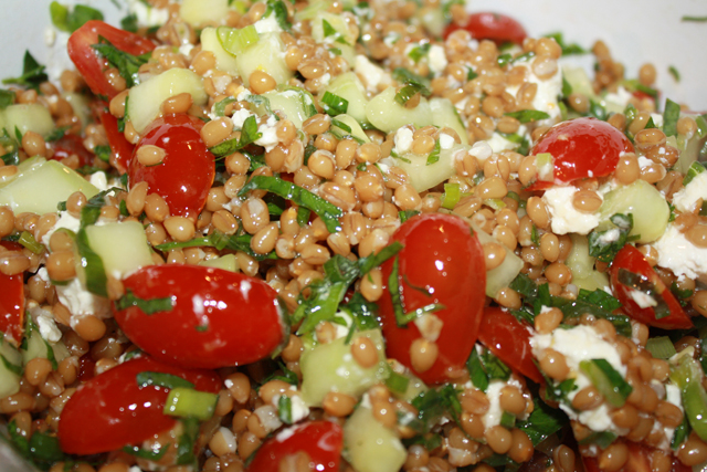Wheat Berry Salad with fresh tomatoes from the garden.