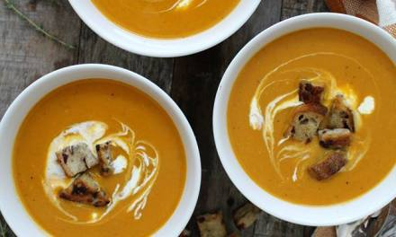 Butternut Squash Soup with Cranberry Bread Croutons