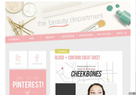 The Beauty Department home page.