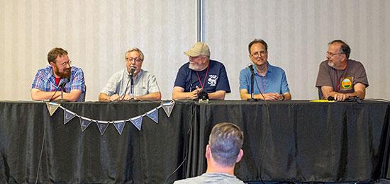 Nathan Madison, from left, John Haefele, Don Herron, Rick Lai, and moderator Tom Krabacher talk Cthulhu and H.P. Lovecraft.