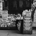 """A number of pulps — including """"The Spider,"""" """"Amazing Stories,"""" """"Adventure,"""" """"G-Men"""" and other detective titles — are on sale at this New York newsstand in August 1939."""