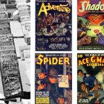 Here's a closeup of some of the pulps from the previous photo, alongside color images of the same covers.