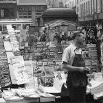 This newsstand (location unknown) displays pulps dated July 1942.