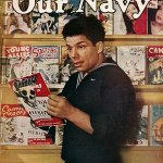"""This sailor is looking over the March 1945 issue of """"The Shadow Comics"""" in an onboard canteen, or """"Gyp Joint,"""" on the cover of the April 15, 1945, issue of """"Our Navy."""" If you look just below the """"O"""" and """"U"""" in the nameplate, you'll see the Spring 1945 number of """"Fight Stories"""" and the March 1945 """"Famous Fantastic Mysteries."""""""