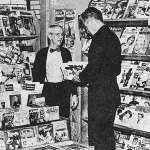 """Few pulps are visible at this Greyhound Bus Station newsstand in St. Louis early 1952. But if you look carefully, you'll spot the March 1952 number of""""Ranch Romances"""" and the 1952 """"Romantic West Annual"""" along the bottom at right."""