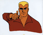 One of two animation cels purported to be from a proposed Doc Savage cartoon from the 1960s. Both are attributed to Format Films, which also produced The Lone Ranger cartoon for CBS.