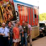 The Girl's Gone Wild bus parked outside the Pulpcon hotel, but the girls never showed up at the con. Nonetheless, Patrick Cranford, from left, Bill Thinnes, Duane Spurlock, Bill Mann, Lohr McKinstry and David Kalb got a laugh outside the bus.