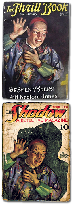 Thrill Book (Oct. 1, 1919) and The Shadow (April 1931)