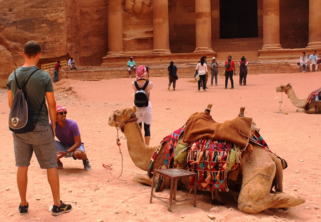 Camels and tourists at the Treasury Petra Jordan - photo zoedawes