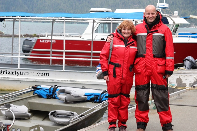 Gary Bembridge and Zoe Dawes in waterproofs at Knight Inlet Lodge Canada