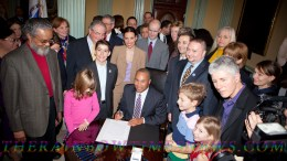Historic passage of the law, when Gov. Patrick signed into law H3810, an An Act Relative to Gender Identity, on Nov. 23, 2011. Photo by: TRT/Glenn Koetzner