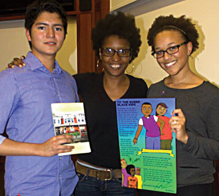 Lindsey Allen and Diego Huerta pose with Mia McKenzie after her keynote address at HBGC's 2013 Youth Empowerment Conference.  Photo: HBGC