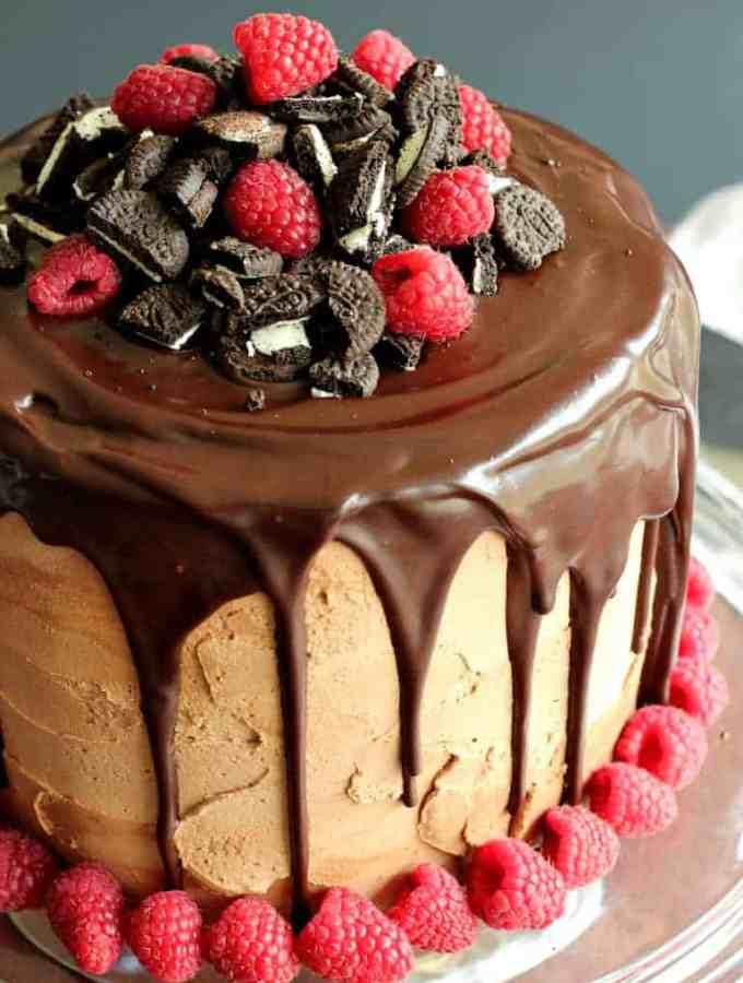 Raspberry Mocha Oreo Cheesecake Cake 6