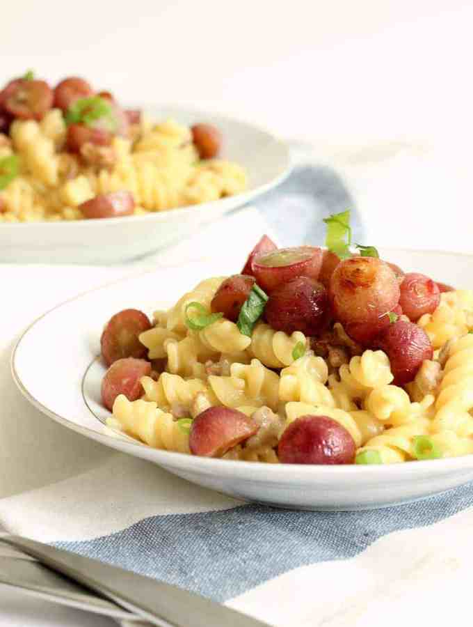 Creamy Rotini with Italian Sausage and Roasted Grapes   The Recipe Rebel