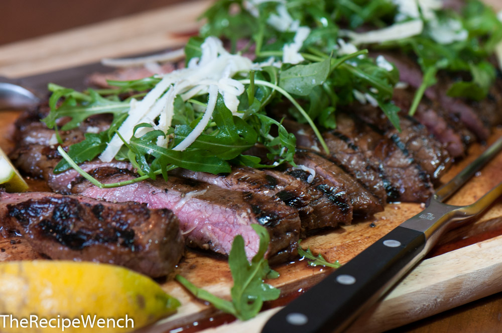 Grilled Flank Steak with Arugula and Parmesan - The Recipe Wench