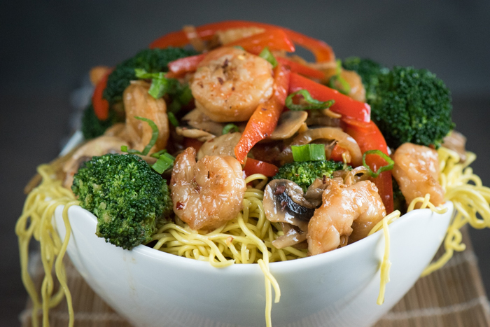 Spicy Shrimp Stir Fry is fresh, healthy, fast and delicious. Serve over oriental style noodles or steamed rice for a satisfying meal. | The Recipe Wench