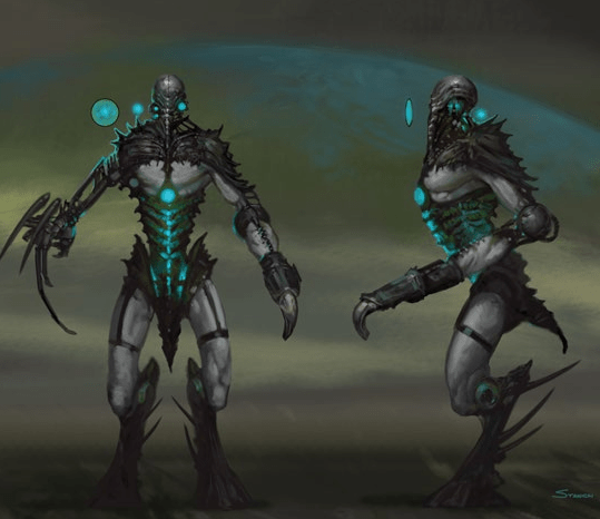 A front and side view of partly mechanical beings