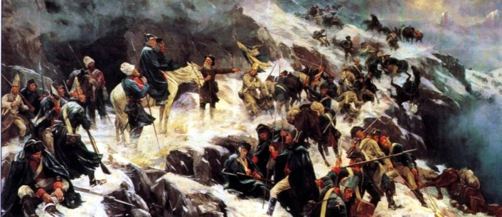 An army  attempting to cross the alps